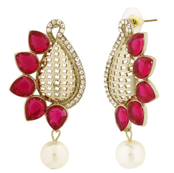 Designer Paisley Antique Rhodium Plated Pink Earring For Women