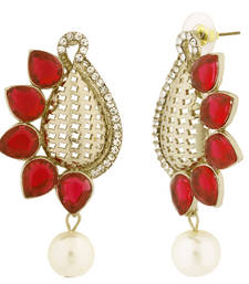 Designer Paisley Antique Rhodium Plated Red Earring For Women