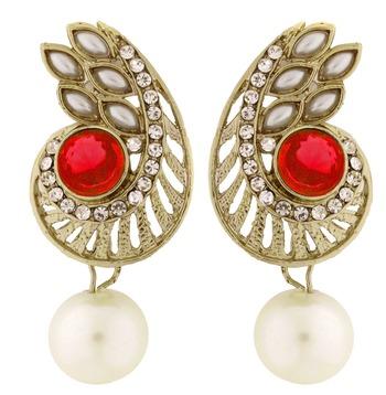Paisley Filigree American Diamond Pearl Black Earring For Women