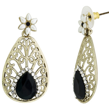 Pear Flower Filigree Antique Rhodium Pearl Black Earring For Women