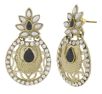Flower Filigree Antique Rhodium Pearl Black Earring For Women