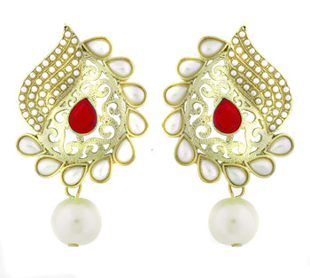 Paisley Filigree Antique Rhodium Pearl Red Earring For Women