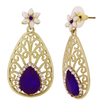 Pear Flower Filigree Antique Rhodium Pearl Blue Earring For Women
