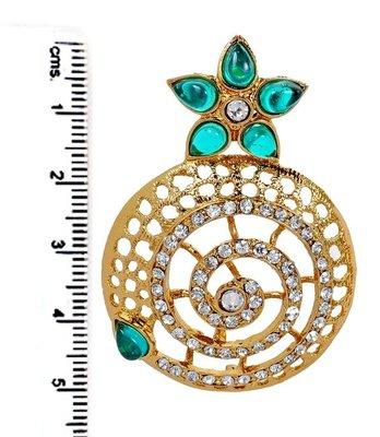 Filigree Flower Gold Plated Green American Diamond Earring For Women