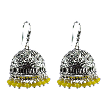 Ethnic- Style Silver Mixed Oxidized Yellow Crystal Jhumki Earring-Indian Fashion Jewelry-