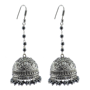 Temple Jhumki Earrings With Hematite Beads-Indian Garba Festival Jewelry