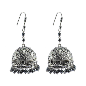 Royal Tradional Jewellery-Hematite  Jhumka Earrings With Oxidized Finish