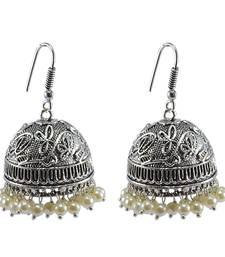 Buy Oxidized Handmade Pearl  3 mm Jhumka Earrings-Jaipuri Jewelry jhumka online