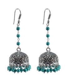Buy Large Statement Jhumka-Tribal Earrings-Treated Turquoise Beads Big Jhumki-Tribal Jewelry- jhumka online