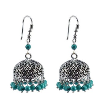 Ethnic Oxidized Jhumka With Reconstituted Turquoise Beads-Handcrafted Tribal Jewelry-
