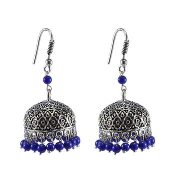 Indian Beautiful Oxidized Jhumka Earrings-Reconstituted Lapis Beads Jaipur Jewellery