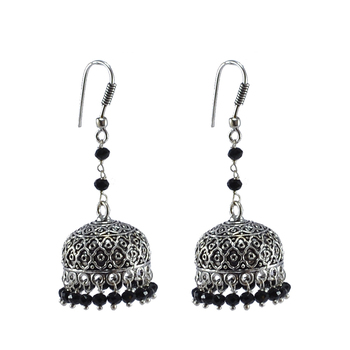 Jaipur Jewelry Ethnich Collecton  -Black Crystal Beads Crafted Jhumki