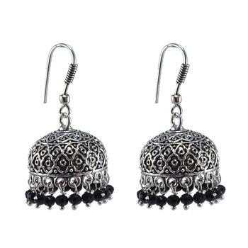 Antiquated Black Metal Jhumki Earrings With Tiny Black Crystals