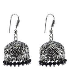 Buy Antiquated Black Metal Jhumki Earrings With Tiny Black Crystals jhumka online