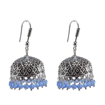 Tribal Jhumka With Tanzanite Crystals-Antique Silver Polished Jhumka-Punjabi Wedding Jewelry