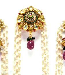 Buy Ruby emerald kundan faux pearl cz gold tone bridal bun pin earring be25 hair-accessory online