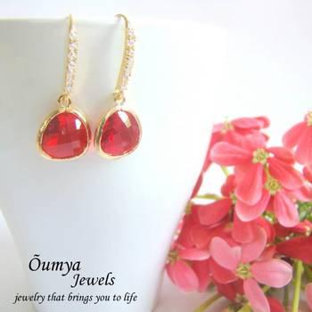 Flaming Red Drop Earrings