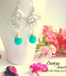 Buy Leaf with teal drop earrinngs danglers-drop online