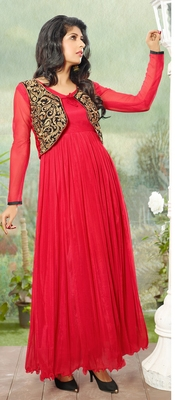 Red Embroidered Net Semi-stitched Evening wear Gown with Jacket & dupatta