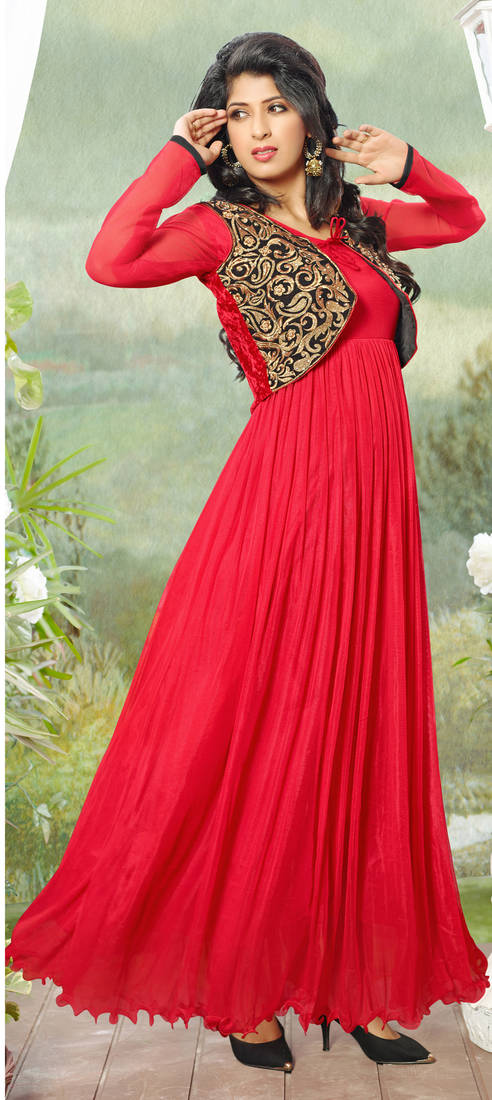 e68dc870b375 Red Embroidered Net Semi-stitched Evening wear Gown with Jacket & dupatta  ...