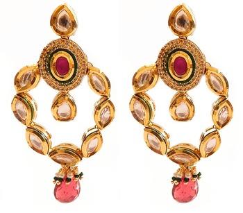 Kundan Earring -Pink