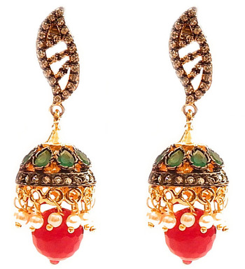 Princess Paisley Stud Jhumka Earrings -Red