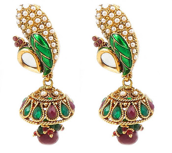 Enamel Jhumka Earrings-Green