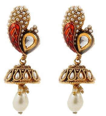 Enamel Jhumka Earrings-orange