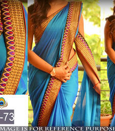 Buy Blue embroidered paper cotton saree with blouse party-wear-saree online