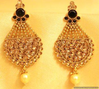 Black Antique Golk Polki Earrings