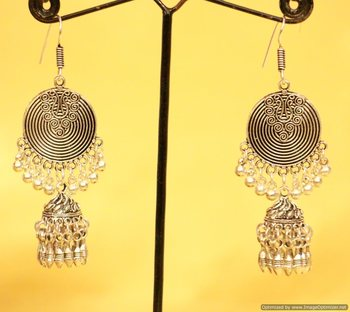 Silver Plated Antique Long Danglers