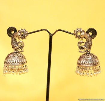 Silver Plated Antique Peacock Jhumka'S