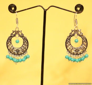 Silver Plated Antique Peacock Earrings