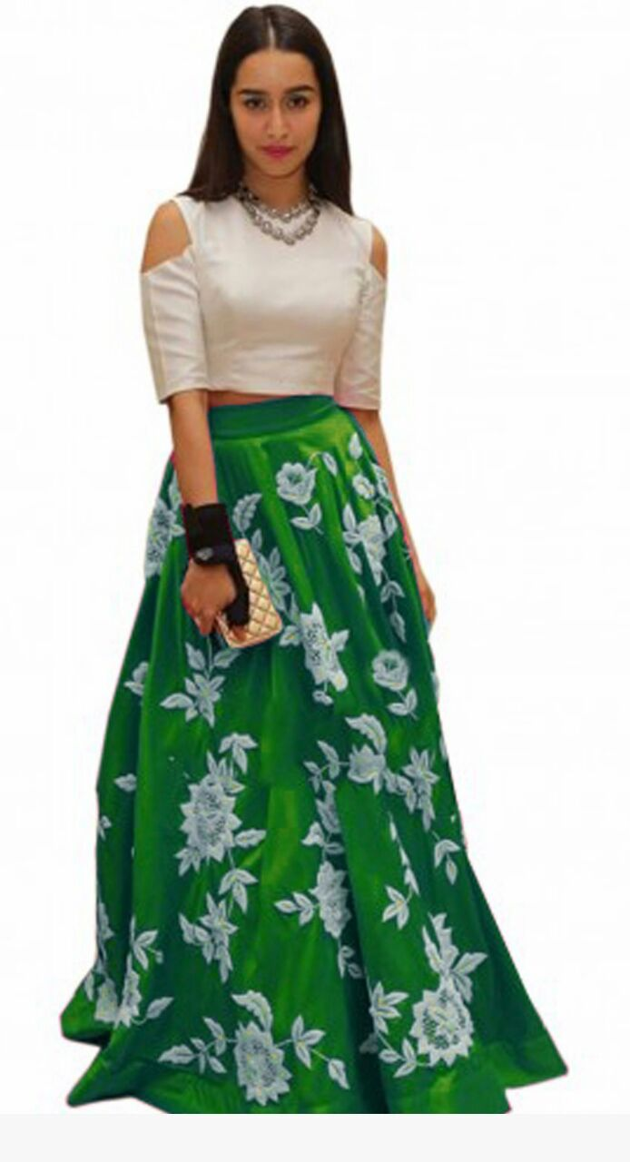 9f248cd00f44c Bollywood Replica - Shraddha Kapoor Green   White Party Wear Crop Top  Lehenga - Fashionlife - 1334815
