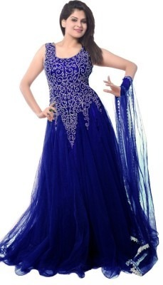 Women's Blue Net Embroidered Semi-Stitched Gown Dress Material.