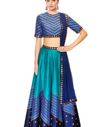 Buy Blue printed art silk pakistani-lehengas pakistani-lehenga online