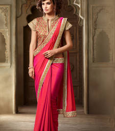 Buy pink embroidered silk saree with blouse heavy-work-saree online