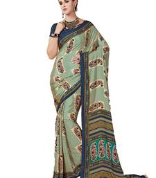 Buy Green printed crepe saree with blouse traditional-saree online
