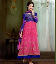 Buy Blue embroidered net unstitched salwar with dupatta