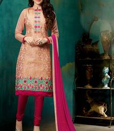 Peach chanderi embroidered straight suit dress material