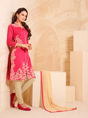 Red embroidered Chanderi unstitched salwar with dupatta