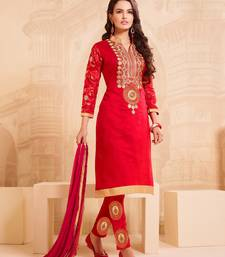 Red Chanderi Embroidered Straight Suit Dress Material
