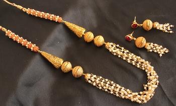 Royal Designer Ruby Pearl Necklace Set