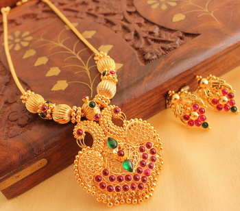 Royal Ruby Emerald Designer Peacock Necklace With Screw Type Earrrings