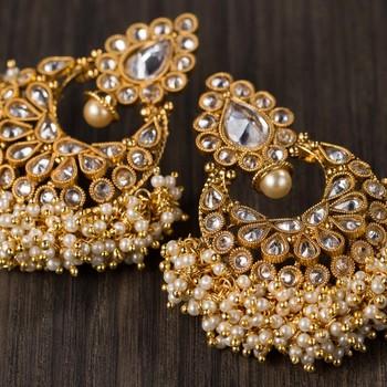 972b0af3db050 Golden pearl beaded heavy earrings