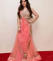 Buy Pink and Orange Plain Net unstitched ghagra-choli anarkali-salwar-kameez online