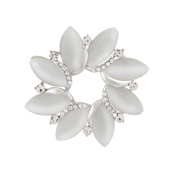 Silver Colour Floral Shape Brooch for Men and Women