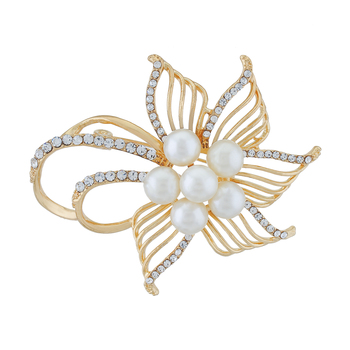 Gold Colour Floral Shape Brooch for Men and Women
