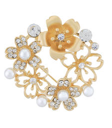 Buy Gold Colour Floral Shape Brooch for Men and Women brooch online