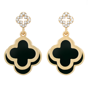 Floral Shape Black colour alloy Earrings for girls and womens.